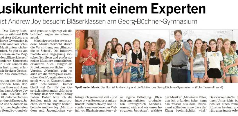 Hornist besucht Bläserklasse – Bericht in der Kölner Rundschau
