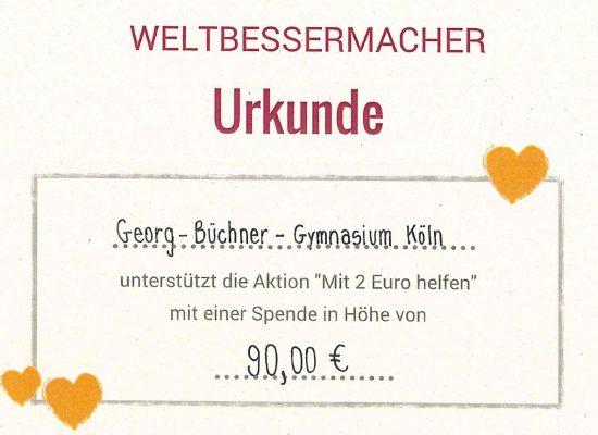 Schülerinnen und Schüler des GBG spenden für die 2-Euro-Aktion an MISEREOR