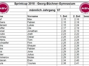 Ergebnisse Sprintcup 2018